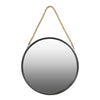 Round Shaped Metal Mirror with Rope Handle, Small, Black