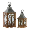 Temple Design Wooden Lantern with Ring Handle, Set of 2, Brown