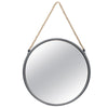 Round Metal Mirror with Rope Handle, Small, Gray