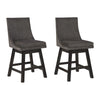 39 Inch Fabric Padded Swivel Barstool, Set of 2, Dark Gray