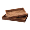 Chevron Pattern Wooden Tray with Cut Out Handles, Set of 2, Brown
