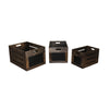 Cutout Design Wooden Box with Chalkboard Inserts, Set of 3, Brown and Black
