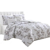 Ohio 5 Piece King Comforter Set with Floral Details, White by The Urban Port