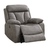 41 Inch Leatherette Power Recliner with Tufted Details, Gray