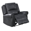 41 Inch Leatherette Power Recliner with Rolled Armrests, Black