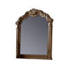47 Inches Crowned Top Wooden Mirror, Brown
