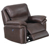Leatherette Power Recliner with USB Dock, Brown