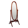 59 Inch Oval Wooden Frame Tilt Cheval Mirror, Brown and Silver