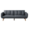 Adjustable Upholstered Sofa with Track Armrests and Angled Legs, Light Gray