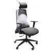Adjustable Headrest Ergonomic Swivel Office Chair with Padded Seat and Casters, Black and Gray