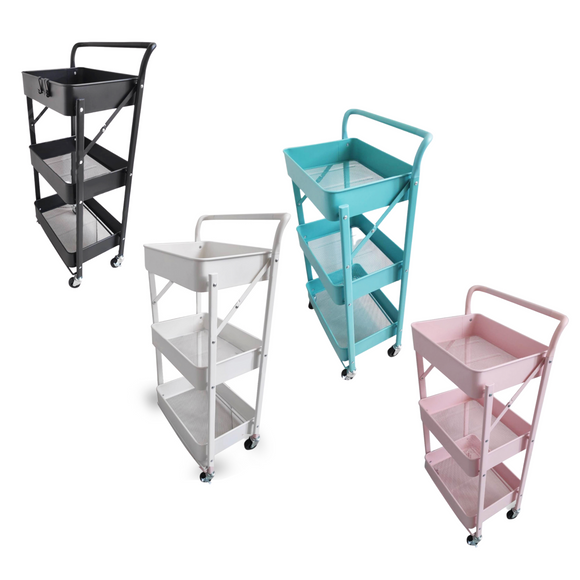 3-Tier Trolley Cart Organizer with Handle (Foldable and All Metal)