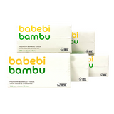 BabebiBambu Premium Bamboo Tissue Soft Pack - 1 pack x 300 sheets (100% Natural & Unbleached)