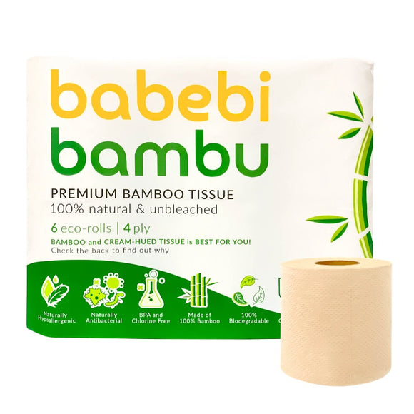 BabebiBambu Premium Bamboo Tissue Toilet Roll - 4 ply 6 rolls (100% Natural & Unbleached)