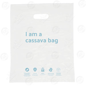 "Cassava Biobag - ""I am a cassava bag"" Griphole Bag Large (50pcs) - Philippine Eagle White"
