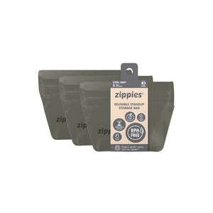 Zippies Reusable Standup Storage Bags - Steel Grey