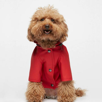 Sarah Dog Raincoat in Plain Adrenalin Red by The Painter's Wife