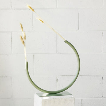 Edging Over – Stainless Steel, Medium Vase in Pale Eucalypt by Anna Varendorff