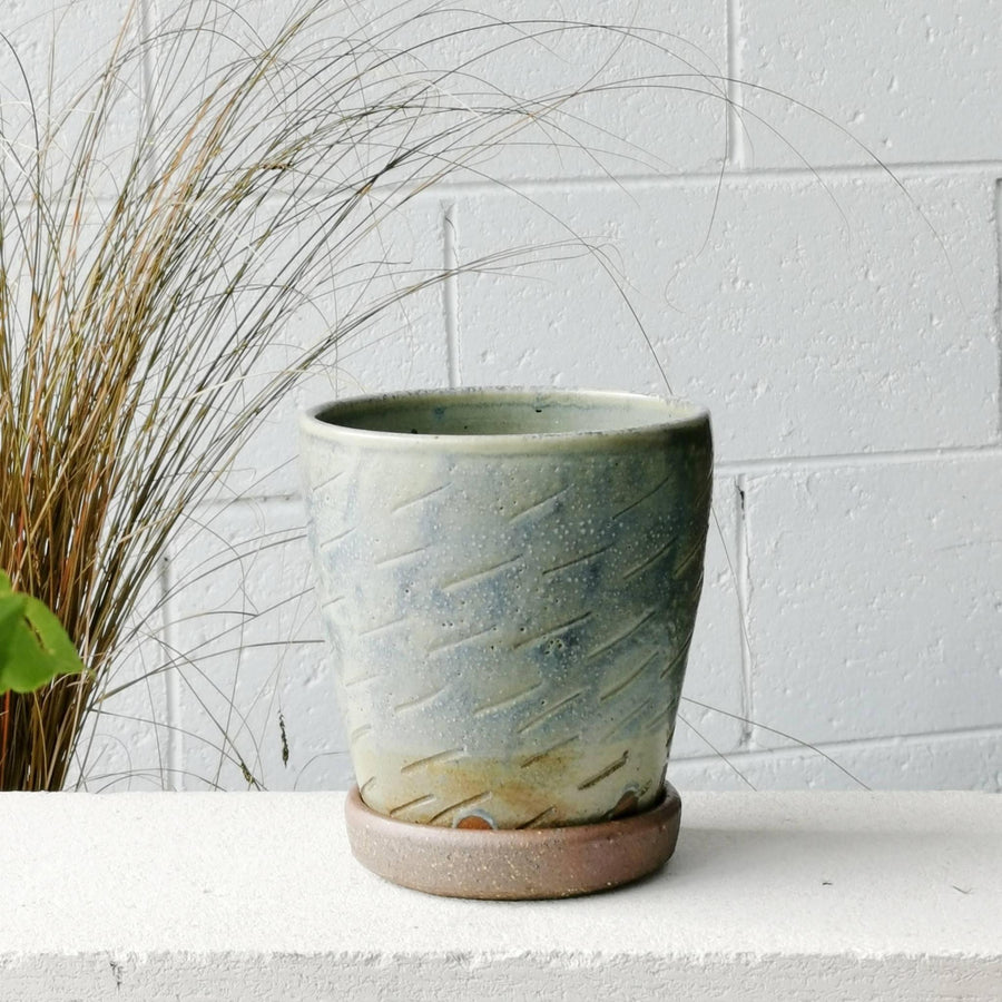 Sea Etched Wood Fired Planter by Sandra Bowkett