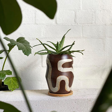 Large Snake Planter in Rust by Peta Armstrong Ceramics