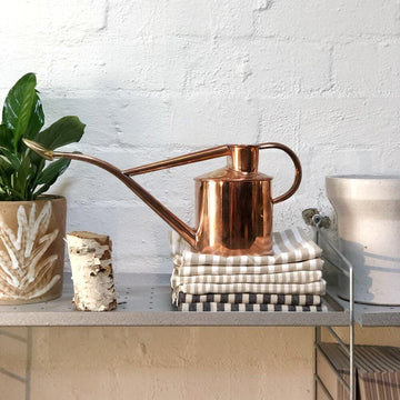 Copper Watering Can Haws homewares gardening plant care planter tea towel linen peace lily spathiphyllum