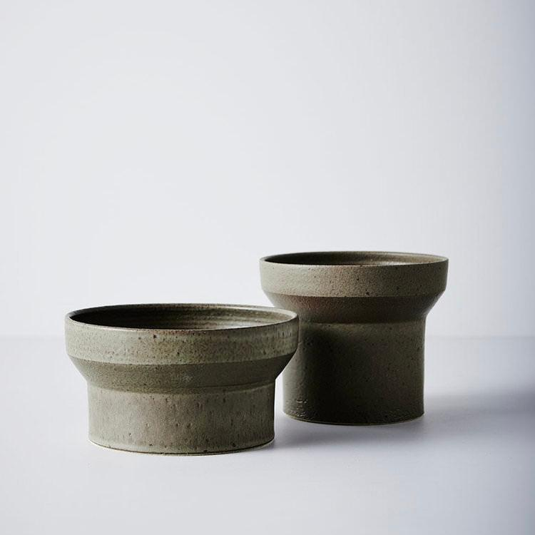 Funnel Planter Olive by Anchor Ceramics