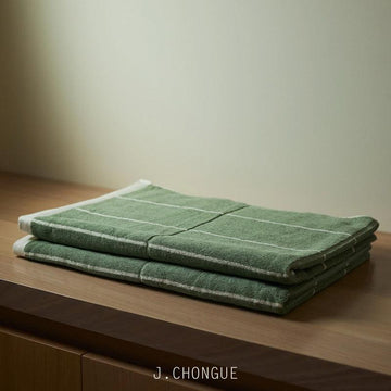 Bethell Bath Towel in sage & chalk by Baina