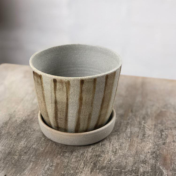 Brown Striped Wood Fired Planters by Sandra Bowkett