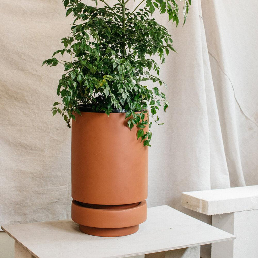 Tall Pier Planter Russet Tan  by The Plant Society
