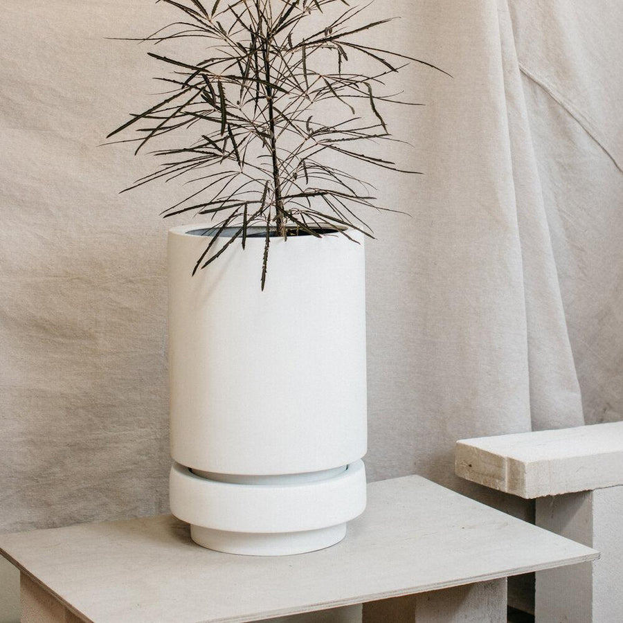 Tall Pier Planter white by The Plant Society