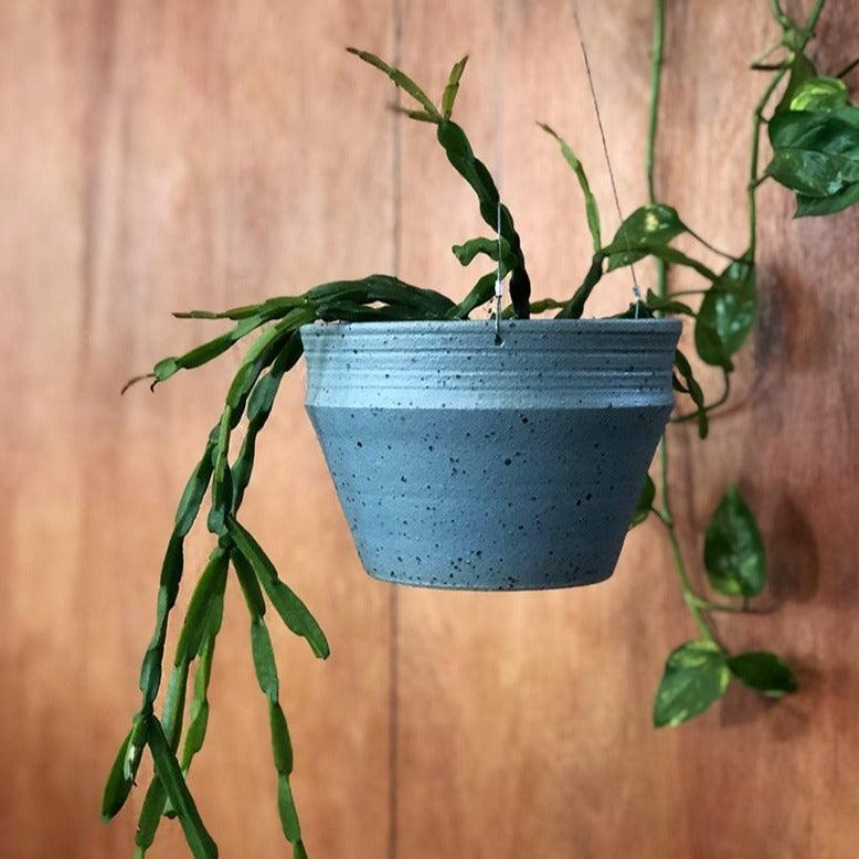 Satin Grey Hanging Ridge Planter by Alison Frith