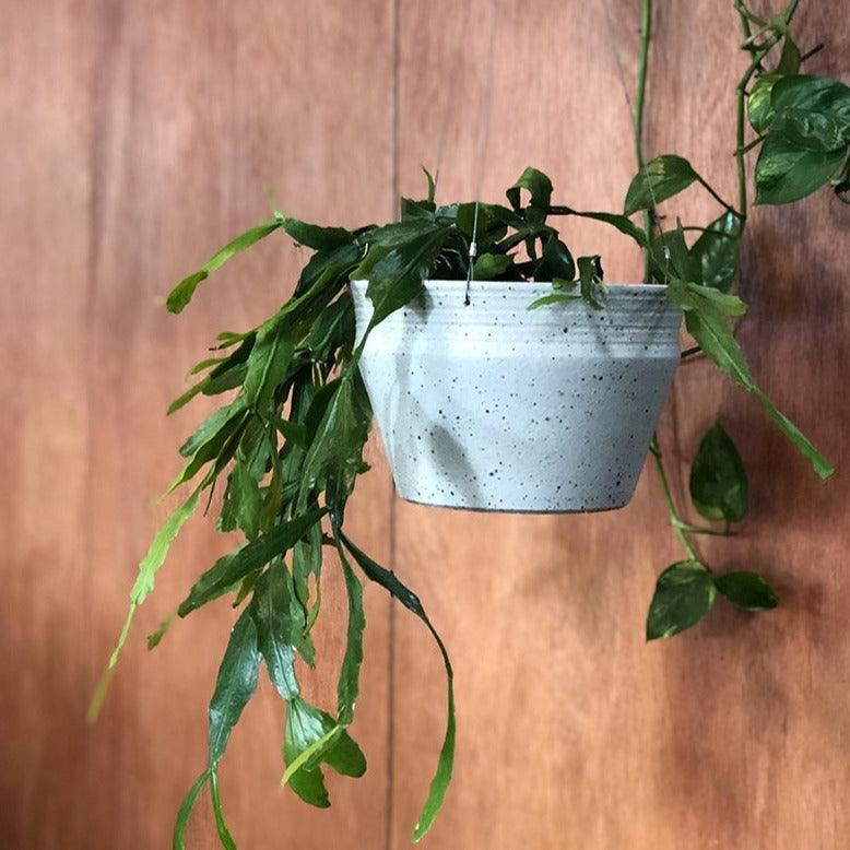 White Satin Hanging Ridge Planter by Alison Frith