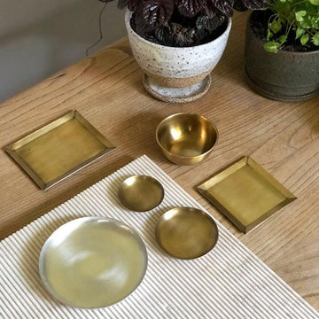 Round Silver Trays by Fog Linen