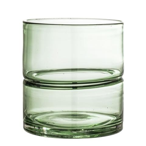 Wide Green Glass Vase - THE PLANT SOCIETY ONLINE OUTPOST