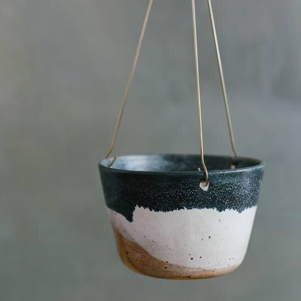 Landscape Brass Hanging Planter by Leaf & Thread