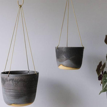 Midnight Sky Brass Hanging Planter Leaf and Thread