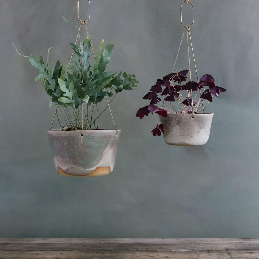 Moss Green Brass Hanging Planter by Leaf & Thread