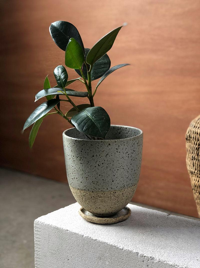 Grey Round Planter by Lisa Peri