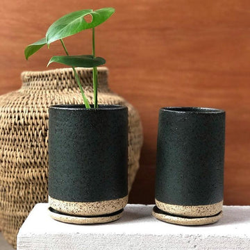 Charcoal Tall Planter Lisa Peri handmade ceramics homewares buhera basket monstera deliciosa
