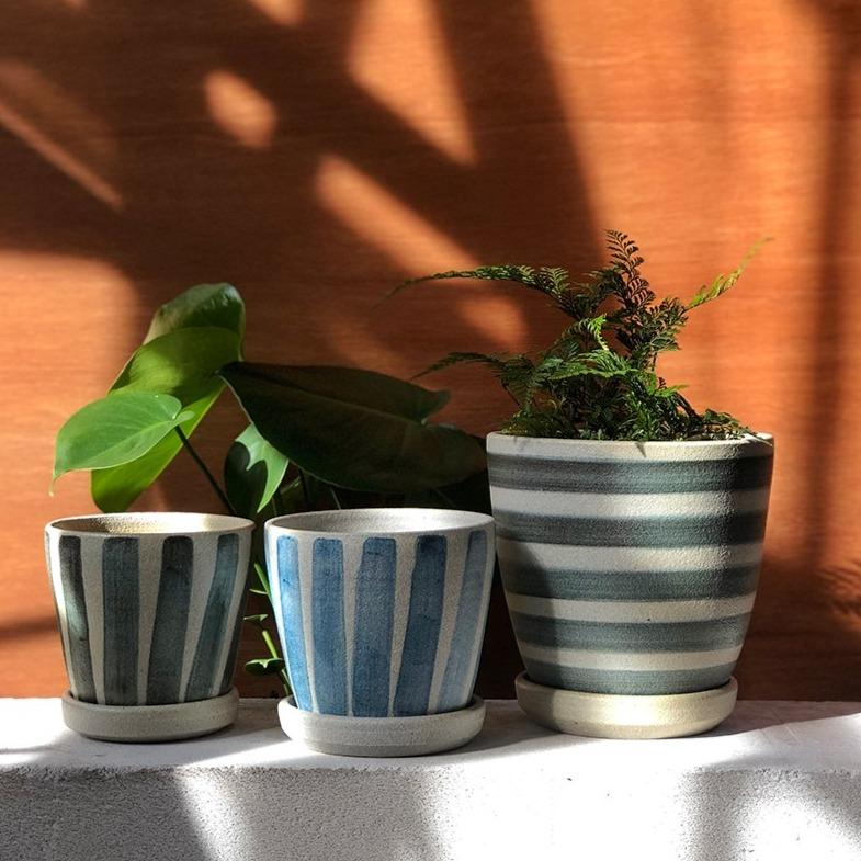 Blue Striped Wood Fired Planters by Sandra Bowkett (Vertical Stripe)