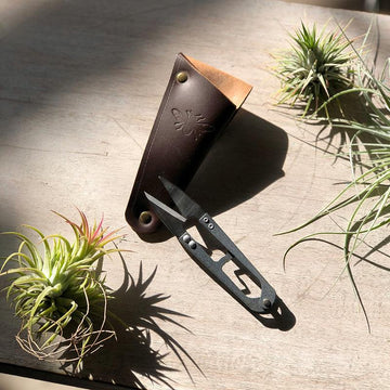 Snips in Leather Pouch with Tillandsia