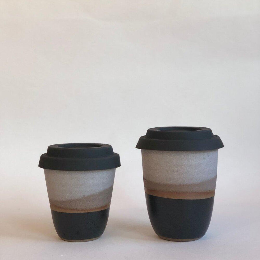 Arcadia Scott Black and White Travel Cup Handmade Keep Cup stoneware ceramic coffee homewares