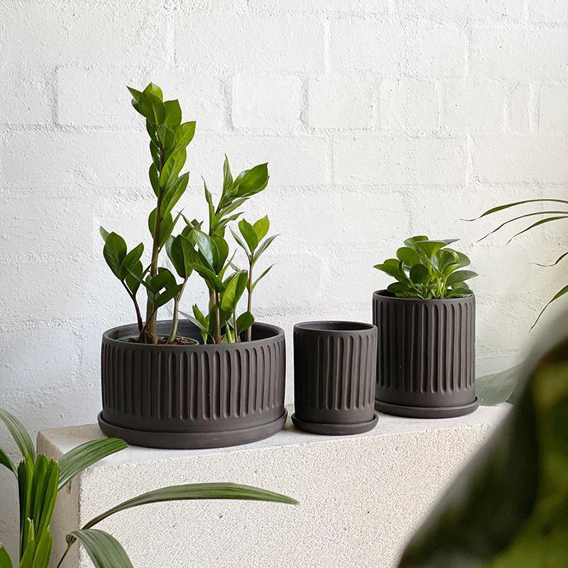 Black Fluted Planter by Arcadia Scott