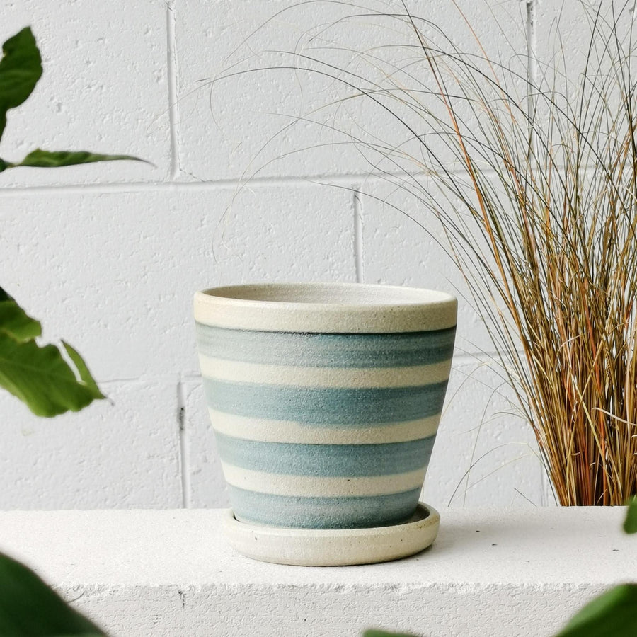 Blue Horizontal Stripe Wood Fired Planters by Sandra Bowkett