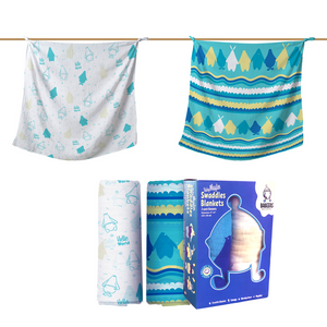 Baby Muslin Blankets - 100% Organic Cotton - Blue - 2 Pack