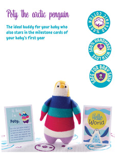 Poty The Arctic Penguin - Baby Milestone Cards with Organic Toy