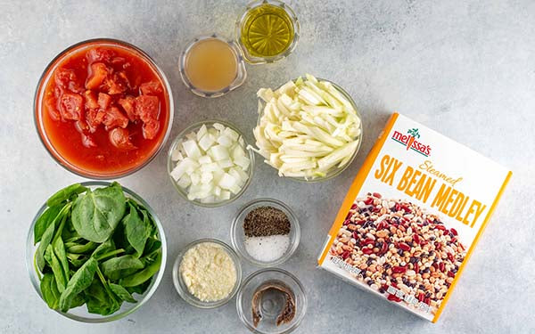 Ingredients for Bean Ragout with Wilted Greens