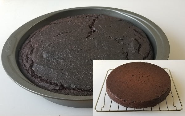 Pour the wet mixture onto the dry ingredients and combine with a spatula until it forms a consistent cake batter. Then transfer that batter into a greased 8-inch round cake pan.