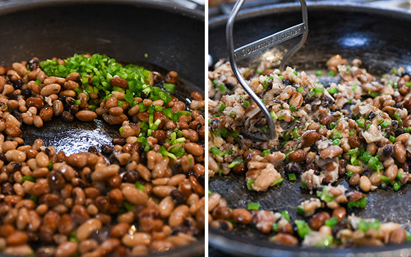 Sauté the beans and jalapeño in 1 tablespoon of oil, about 3 minutes.