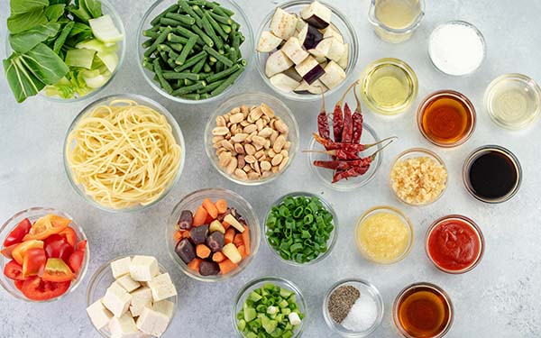 Ingredients for Kung Pao Vegetables