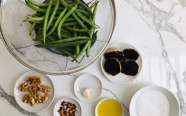 Ingredients for Green Beans with Black Garlic Sauce and Toasted Walnuts